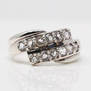 Jewelry - Sterling White Topaz Wrap-Around Band Ring 9.75